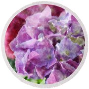 Summer Hydrangeas With Painted Effect Round Beach Towel