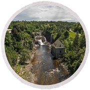 Summer In Asuable Chasm Round Beach Towel