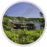 Summer In South Bristol On The Coast Of Maine Round Beach Towel