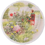 Summer In Sundborn Round Beach Towel by Carl Larsson