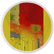 Summer In The Big City - Fantasy Cityscape Round Beach Towel