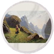 Summer In The Fjord Round Beach Towel