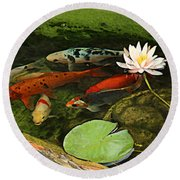Summer Koi And Lilly Round Beach Towel