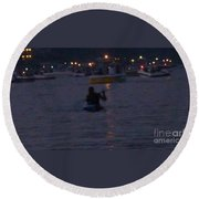 Summer Lake Evening Wait Round Beach Towel