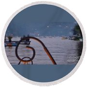 Summer Lake Twinkles Round Beach Towel