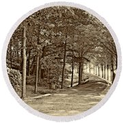 Summer Lane Sepia Round Beach Towel