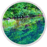 Summer Monet Reflections Round Beach Towel