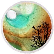 Summer Moon - Landscape Art By Sharon Cummings Round Beach Towel by Sharon Cummings