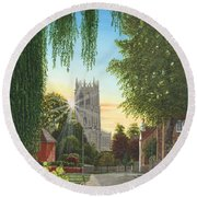 Summer Morning St. Mary Round Beach Towel
