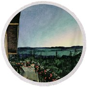 Summer Night Round Beach Towel by Harald Oscar Sohlberg