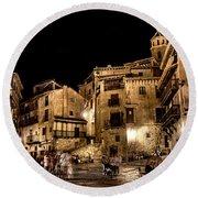 Summer Night In Albarracin Spain Round Beach Towel