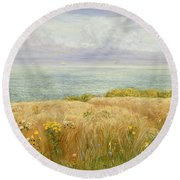 Summer On The Cliffs Round Beach Towel
