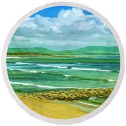 Summer On The Irish Coast Round Beach Towel