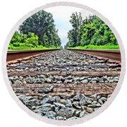 Summer Railroad Tracks Round Beach Towel