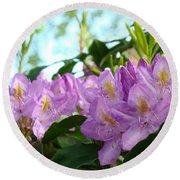 Summer Rhodies Flowers Purple Floral Art Prints Round Beach Towel