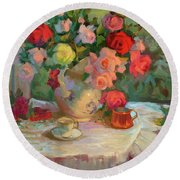 Summer Roses Round Beach Towel