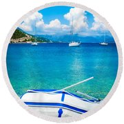 Summer Sailing In The Med Round Beach Towel