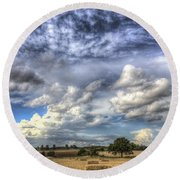Summer Sky Farm Round Beach Towel