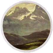 Summer Snow On The Peaks Or Snow Capped Mountains Round Beach Towel