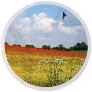 Summer Spectacular - Red Kites Over Poppy Fields Round Beach Towel