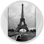 Summer Storm Over The Eiffel Tower Round Beach Towel