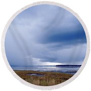 Summer Storm Over The Lake Round Beach Towel