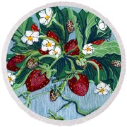 Summer Strawberries Round Beach Towel