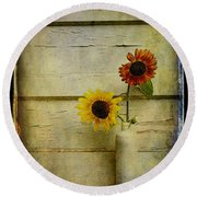 Summer Sunflowers Round Beach Towel
