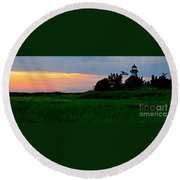 Summer Sunset At East Point Light Round Beach Towel