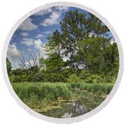 Summer Time At Moraine View State Park Round Beach Towel