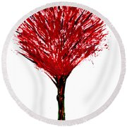Summer Tree Painting Isolated Round Beach Towel