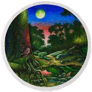 Summer Twilight In The Forest Round Beach Towel