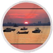 Late Summer Sunset Over The Bay Round Beach Towel