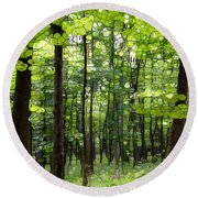 Summer's Green Forest Abstract Round Beach Towel