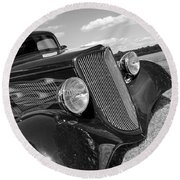 Summertime Blues In Black And White - Ford Coupe Hot Rod Round Beach Towel