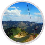 Summertime Chairlift Ride Round Beach Towel