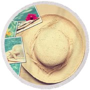 Summertime Postcards Round Beach Towel