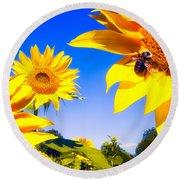 Summertime Sunflowers Round Beach Towel