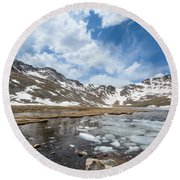 Summit Lake In The Spring Round Beach Towel