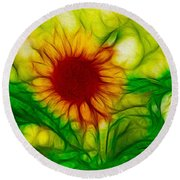 Sun And A Flower Round Beach Towel