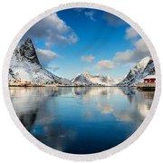 Sun And Ice Reinefjord Round Beach Towel