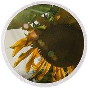 Sun And Sunflower Round Beach Towel