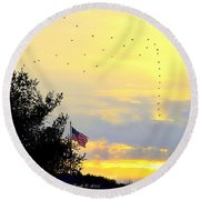 Sun Birds Round Beach Towel
