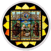 Sun Burst Stained Glass Round Beach Towel