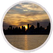 Sun Comes Up On New York City Round Beach Towel