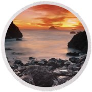 Sun Descends On Northcoast Round Beach Towel