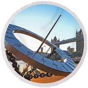 Sun Dial And Tower Bridge London Round Beach Towel