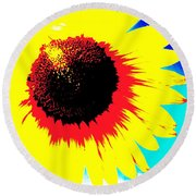 Sun Flowers Round Beach Towel