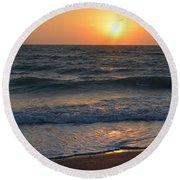 Sun Glistening On The Water Round Beach Towel