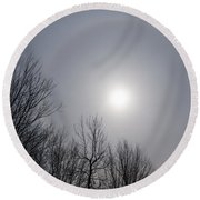 Sun Halo Through The Trees Round Beach Towel